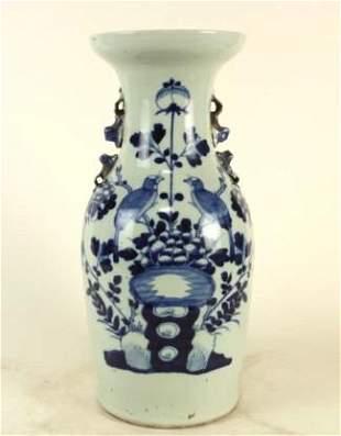 CHINESE CELADON AND BLUE PORCELAIN VASE
