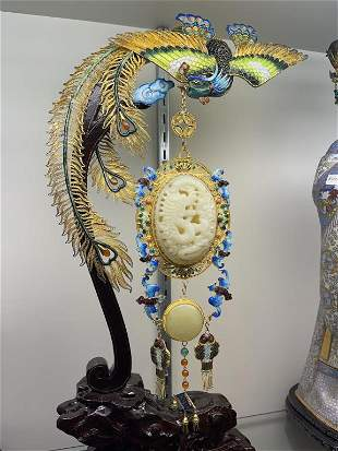 CHINESE CLOISONNE PHOENIX WITH WHITE JADE PLAQUE