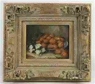 FRAMED OIL ON BOARD PAINTING OF STRAWBERRIES