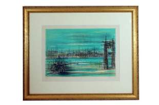 FRAMED PRINT OF A CITY HARBOR SCENE BY CARZON