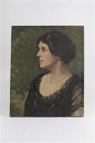 OIL ON CANVAS PAINTING OF A LADY PORTRAIT