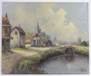 OIL PAINTING OF A VILLAGE SCENE BY H. HIENSCH