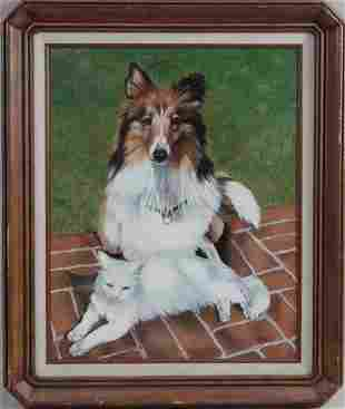 OIL ON CANVAS PAINTING OF A DOG AND A WHITE CAT