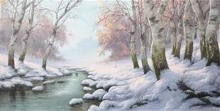 OIL PAINTING OF WINTER LANDSCAPE BY GABRIS B.