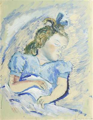 OIL PAINTING ON PAPER OF A SLEEPING GIRL