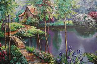 LARGE OIL PAINTING ON CANVAS OF A GARDEN SCENE