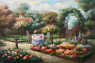 OIL PAINTING ON CANVAS OF A LUXE GARDEN