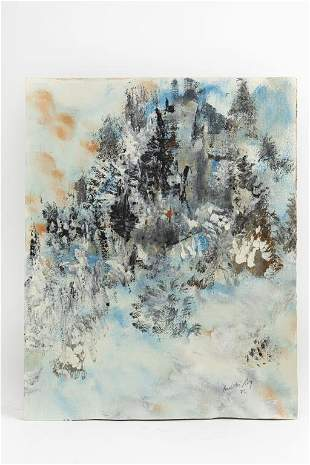 ABSTRACT OIL PAINTING OF WINTER LANDSCAPE