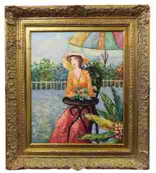 OIL ON CANVAS OF A WOMAN SEATED IN GARDEN