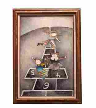 FRAMED OIL PAINTING ON CANVAS OF KIDS PLAYING