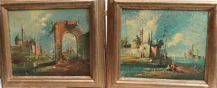 PAIR OF DUTCH OIL ON CANVAS PAINTINGS