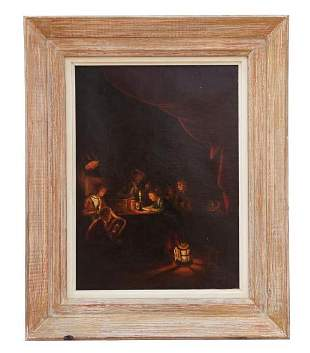 DUTCH OIL PAINTING ON CANVAS OF A FAMILY SCENE