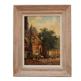 DUTCH OIL ON CANVAS PAINTING OF A VILLAGE SCENE