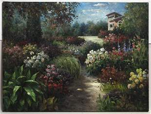 OIL ON CANVAS PAINTING OF GARDEN PATH