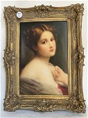PORCELAIN PLAQUE OF A YOUNG GIRL, KPM MARK ON VERSO