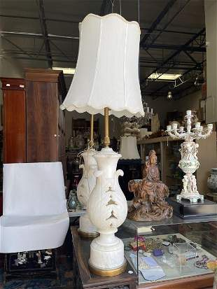 PAIR OF PIERCED ALABASTER VASES TURNED INTO LAMPS