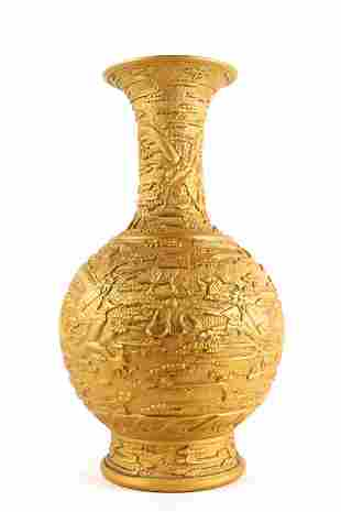 CHINESE CARVED BURNT GOLD GROUND BOTTLE VASE