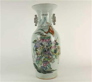 CHINESE FAMILLE ROSE VASE WITH DOUBLE HANDLES