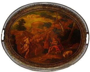ANTIQUE HAND-PAINTED OIL PAINTING ON COPPER TRAY