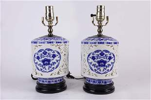 PAIR OF BLUE AND WHITE RETICULATED VASES, AS LAMPS