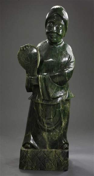 LARGE CHINESE SPINACH GREEN JADE FIGURE OF LUOHAN