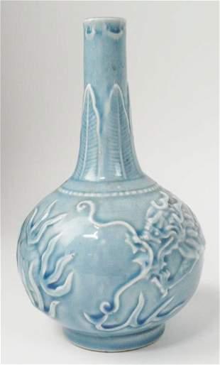 CHINESE LIGHT BLUE GLAZE LONG NECK VASE