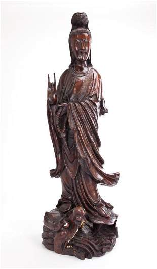 LARGE CHINESE CARVED WOOD STANDING GUANYIN