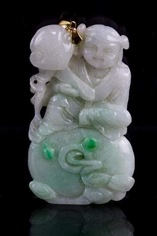 CHINESE JADEITE PENDANT WITH 14K GOLD