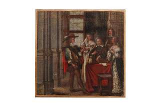 18TH C PAINTING OF A SOCIAL SCENE: A DOWRY MEETING