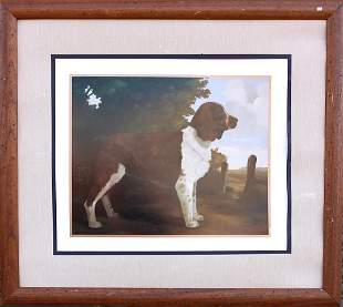 OIL PAINTING ON CANVAS OF A SPRINGER SPANIEL DOG