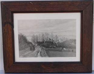 FRAMED DRAWING OF A VILLAGE