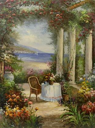OIL PAINTING ON CANVAS OF A PAVILION