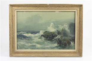 WATERCOLOR PAINTING OF A SHORE SCENE