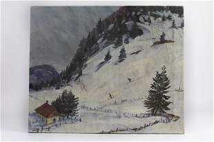OIL ON CANVAS PAINTING OF SNOW SKIING SCENE