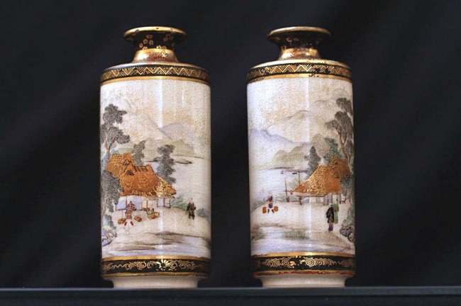 3: PAIR OF MINIATURE GILDED JAPANESE SATSUMA VASES
