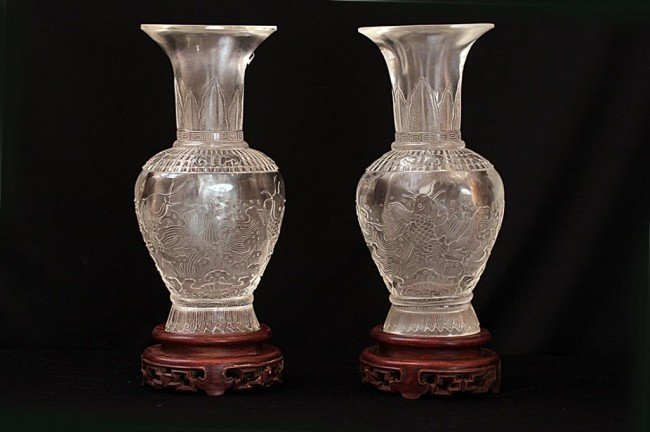 4: PAIR OF CHINESE ROCK CRYSTAL VASES