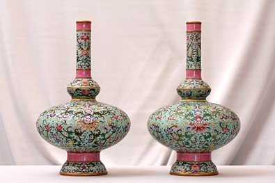 11: PAIR OF CHINESE ROSEWATER VASES, REPUBLIC PERIOD