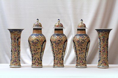 20: SET OF FIVE FAMILLE ROSE VASES