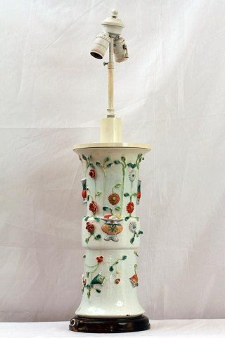 3: CHINESE FAMILLE-ROSE RELIEF DECORATED VASE