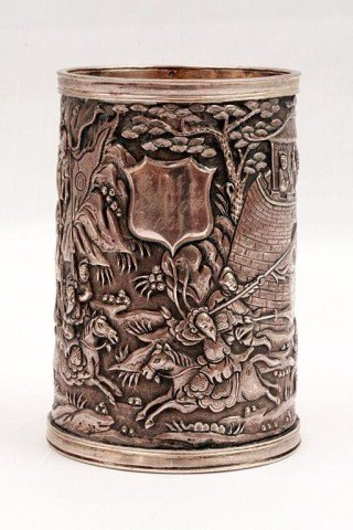 8: A FINE 19TH CENTURY CHINESE SILVER BRUSHPOT
