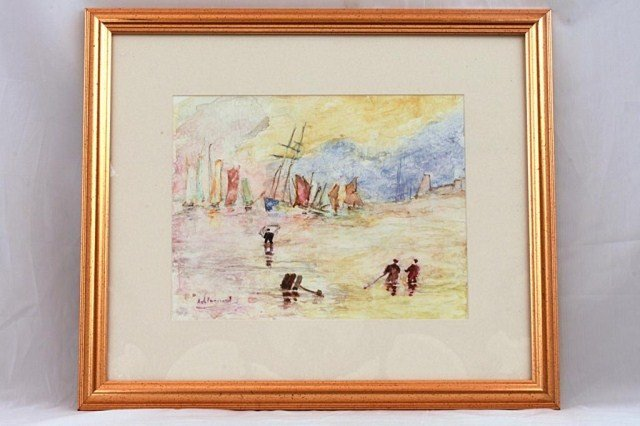19: WATERCOLOR PAINTING OF SEASIDE, SIGNED