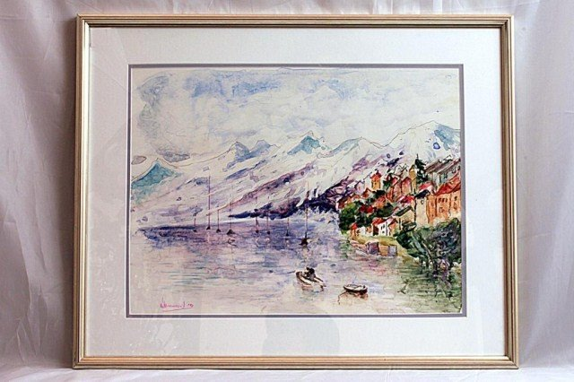 20: WATERCOLOR PAINTING OF A WINTER LANDSCAPE, SIGNED