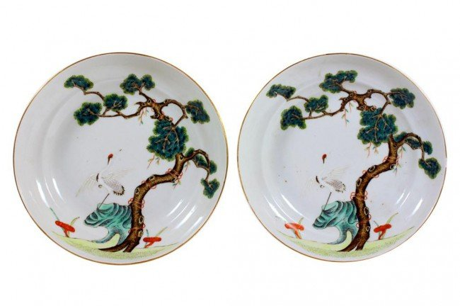 1: PAIR OF CHINESE SHALLOW DISHES, REPUBLIC PERIOD