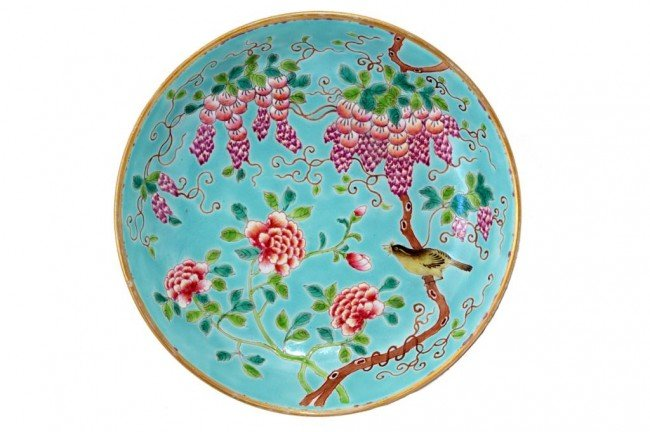 4: SET OF FOUR CHINESE TURQUOISE-GROUND PLATES
