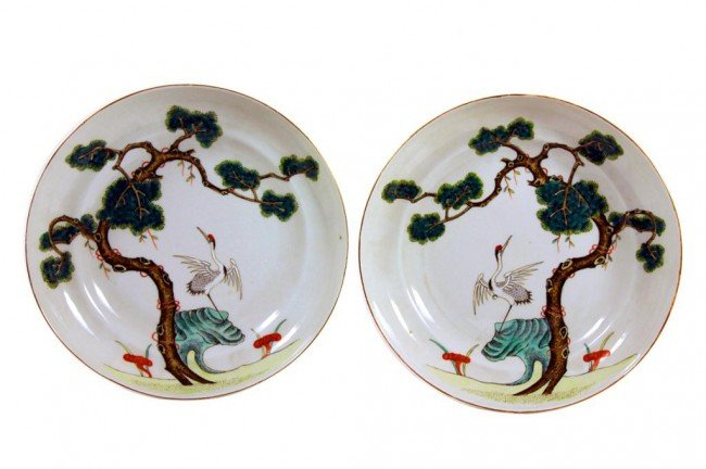 16: PAIR OF CHINESE LARGE SHALLOW DISHES