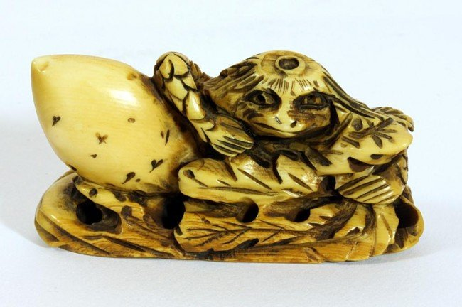 21: 19TH CENTURY IVORY FIGURE, OF A HAIRY FROG