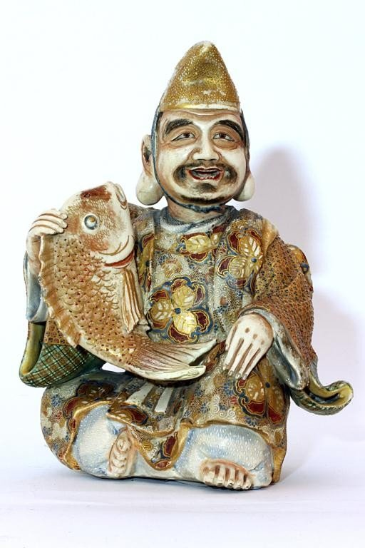 35: JAPANESE SATSUMA GILDED FIGURE, OF YEBISU/HIRUKO