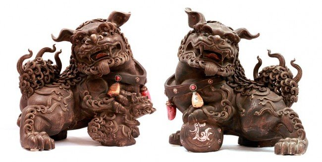 189: LARGE PAIR OF CHINESE  STONEWARE FOO DOGS