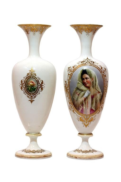 5: PAIR OF FRENCH OPALINE GLASS PORTRAIT VASES