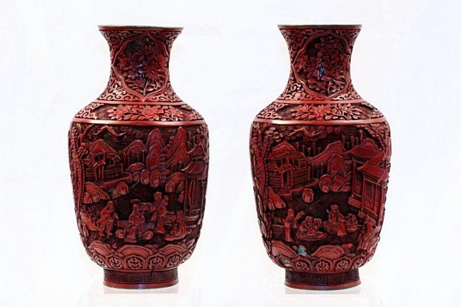 9: PAIR OF ANTIQUE CARVED CINNABAR LACQUERED VASES